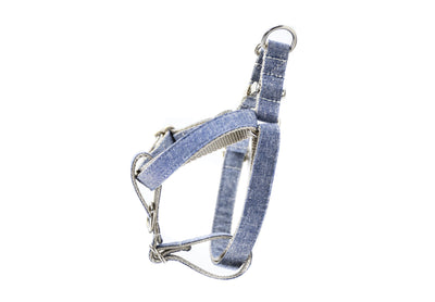 Denim Blue Linen Dog Harness Danes & Divas
