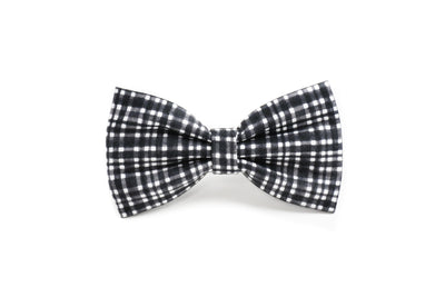 Graphite Modern Plaid Dog Bow Tie Danes & Divas