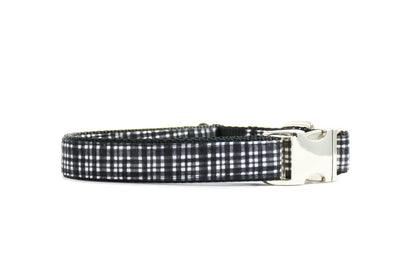 Graphite Modern Plaid Dog Collar Danes & Divas