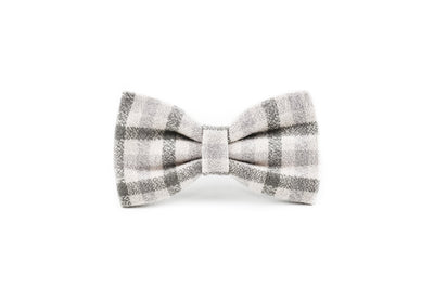 Grey and Cream Flannel Plaid Dog Bow Tie Danes & Divas