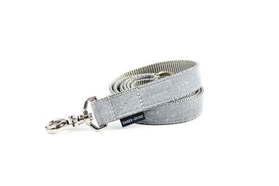 Grey and Neon Slub Chambray Dog Leash Danes & Divas