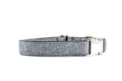 Grey Herringbone Flannel Dog Collar Danes & Divas