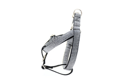 Grey Herringbone Flannel Dog Harness Danes & Divas
