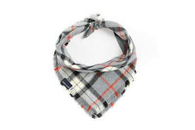 Grey Plaid Flannel Fringe Bandana Danes & Divas