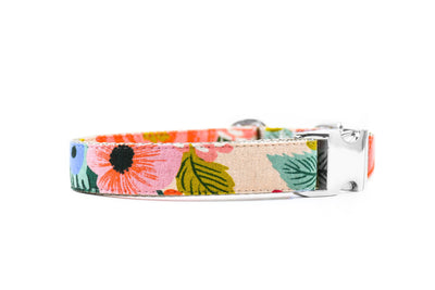 Juliet Blush Floral Canvas Dog Collar Danes & Divas