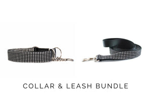 LAST CHANCE | Black Faux Rhinestone Dog Collar and Leash - XL Danes & Divas