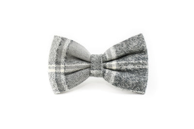 Light Grey Flannel Plaid Bow Tie Danes & Divas