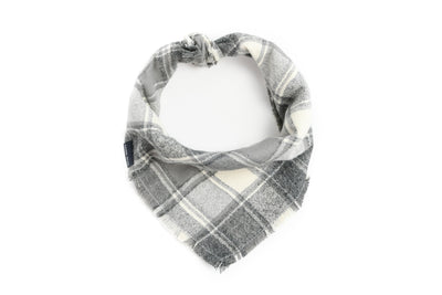 Light Grey Plaid Flannel Fringe Bandana Danes & Divas