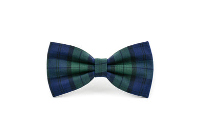 Navy and Forest Green Tartan Plaid Dog Bow Tie Danes & Divas