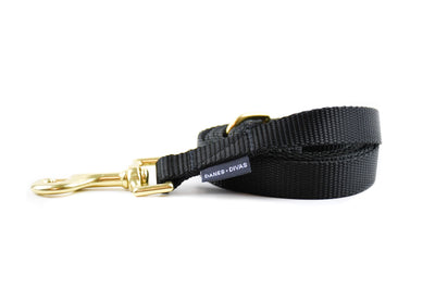 Nude Essentials Nylon Dog Leash - Black Danes & Divas