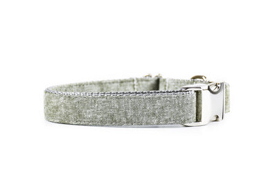 Olive Chambray Linen Dog Collar Danes & Divas