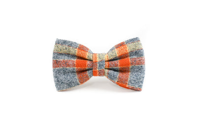 Pumpkin & Grey Flannel Plaid Bow Tie Danes & Divas