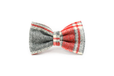 Red & Grey Marled Plaid Flannel Bow Tie Danes & Divas