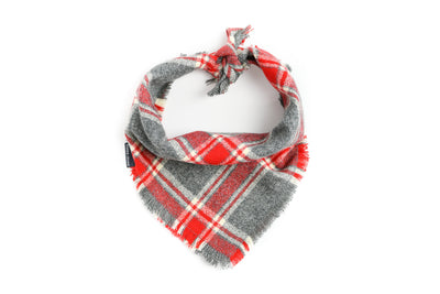 Red & Grey Marled Plaid Flannel Fringe Bandana Danes & Divas