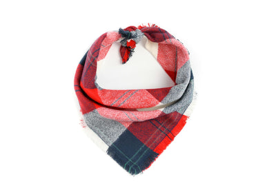 Red & Navy Plaid Flannel Fringe Bandana Danes & Divas