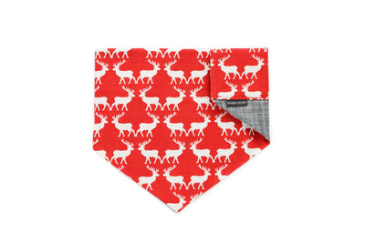 Red & White Reindeer Reversible Slip On Bandana Danes & Divas