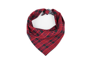Small Canadiana Plaid Reversible Bandana - Charcoal + Red Danes & Divas