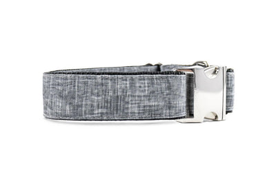 WIDE | Black Chambray Faux Linen Canvas Dog Collar Danes & Divas