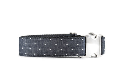 WIDE | Black Chambray Swiss Dots Dog Collar Danes & Divas