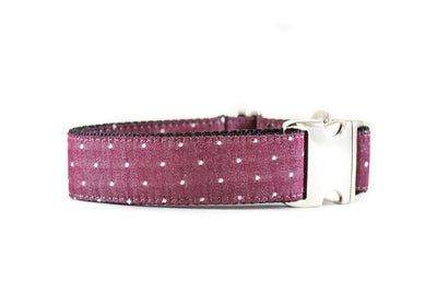 WIDE | Burgundy Swiss Dots Dog Collar Danes & Divas