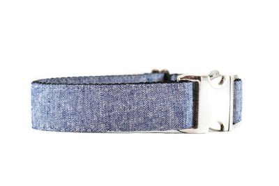 WIDE | Denim Blue Faux Linen Canvas Dog Collar Danes & Divas