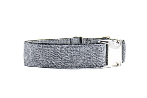 WIDE | Grey Herringbone Flannel Dog Collar Danes & Divas