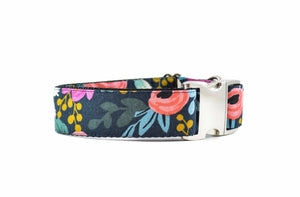 WIDE | Rosa Navy Floral Dog Collar Danes & Divas