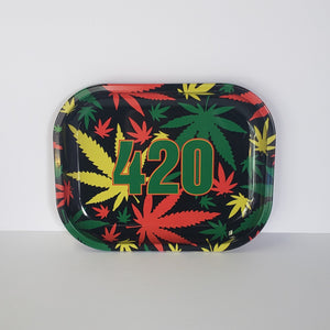 420 Rasta Weed Leaves Small Rolling Tray