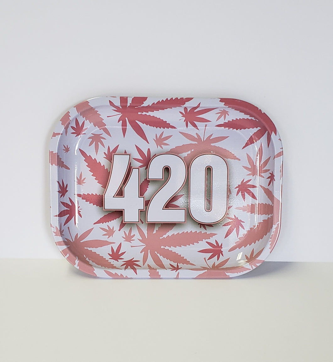 420 with Pink & White Leaves Small Rolling Tray