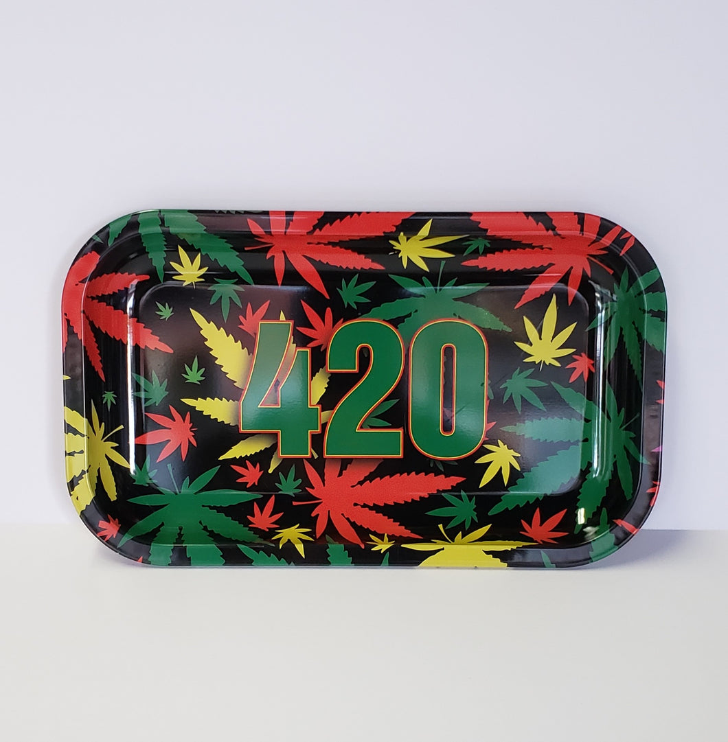 420 with Rasta Weed Leaves Medium Rolling Tray
