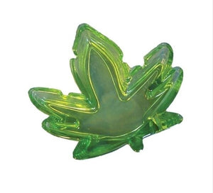 "Ash Tray 5"" Glass Weed Leaf"