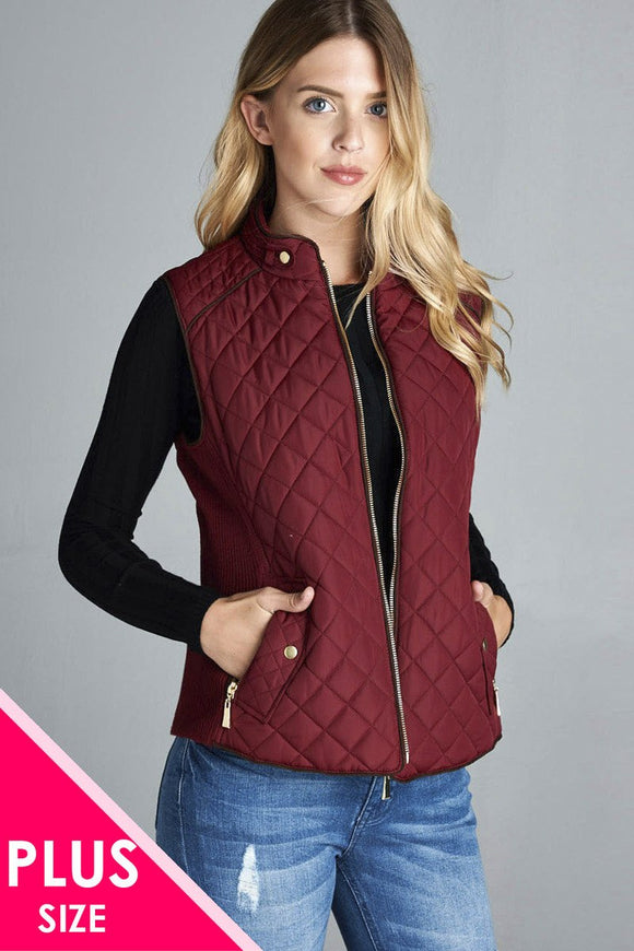 Quilted Vest With Suede Piping Details