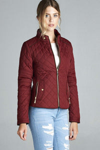 Quilted Jacket With Suede Piping Details