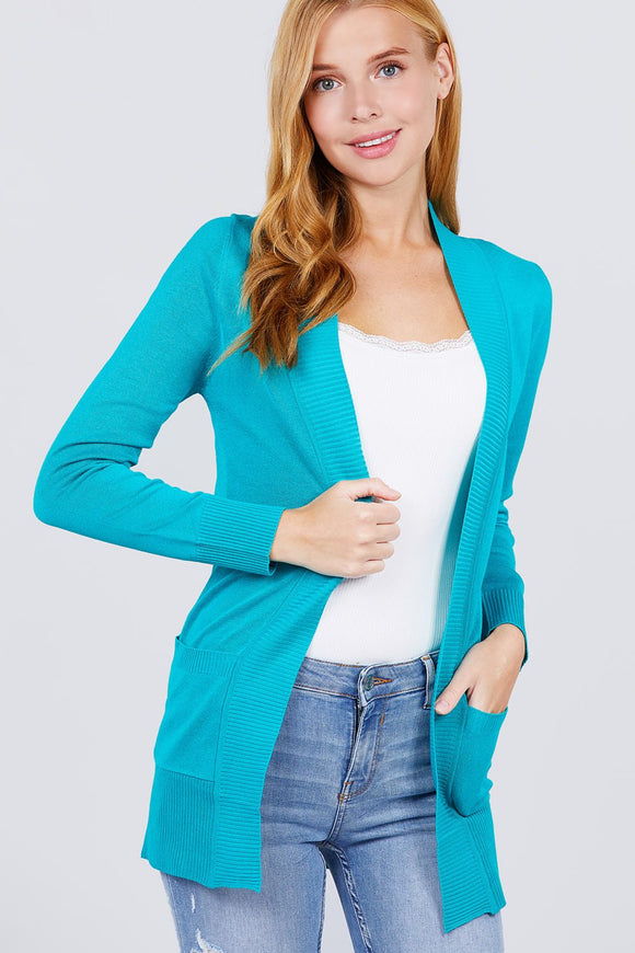 Long Sleeve Ribbed Sweater Cardigan W/pockets