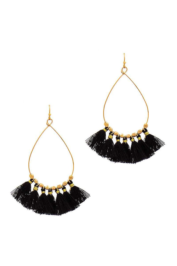 Mini Tassel Tear Drop Wire Earring