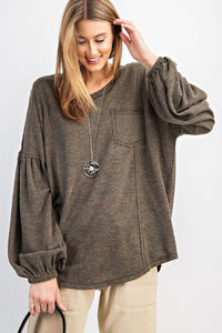 Bubble Sleeve Light Hacci Sweater Top