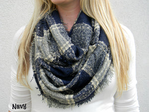 Knit Plaid Infinity Scarf - Navy