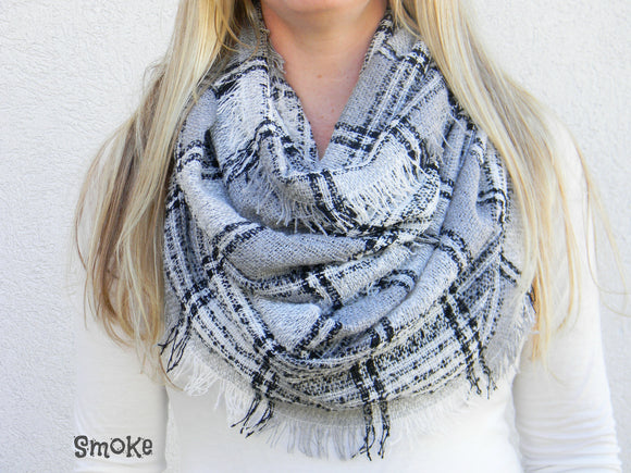 Knit Plaid Infinity Scarf - Smoke