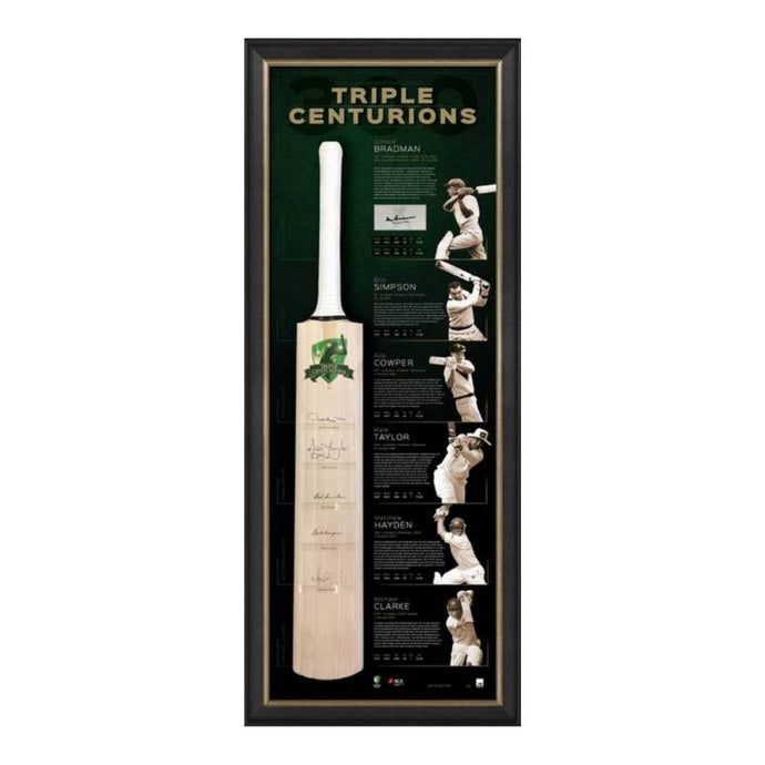 Memorabilia - The Triple Centurions Personally Signed Bat Display - Bradman, Taylor, Clarke, Simpson