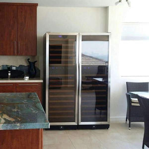 Wine Fridge - 405L Glass Door Upright Dual Zone Wine Fridge
