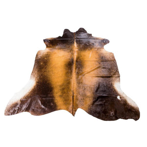 Rug - RANCHO DARK - DARK BROWN & GOLD COLOURED LARGE PREMIUM COWHIDE RUG