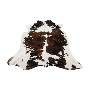 Rug - NORMAND - DARK BROWN & WHITE COLOURED LARGE PREMIUM COWHIDE RUG
