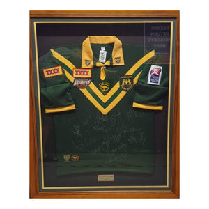 Memorabilia - Australian Kangaroos Rugby League World Cup Champions 2000 Team Signed Jersey, Framed