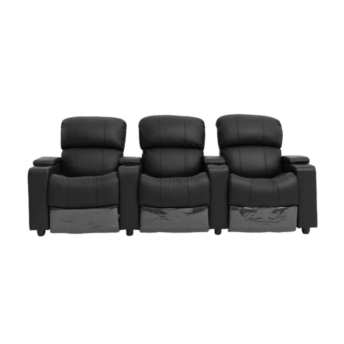 Sophie Black Leather 3 Seater Recliner