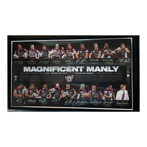 "Memorabilia - Manly 2011 Premiers ""Magnificent Manly"" Personally Signed By 17, Framed"