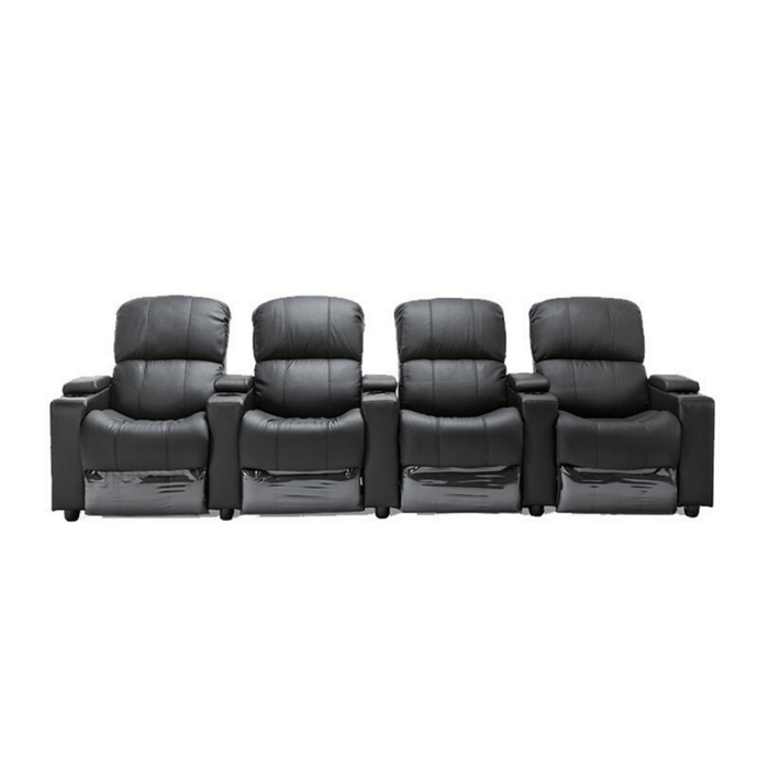 Sophie Black Leather 4 Seater Recliner