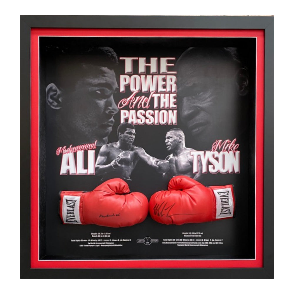 'The Power And The Passion' Dual Gloves Personally Signed By Muhammad Ali And Mike Tyson, Framed
