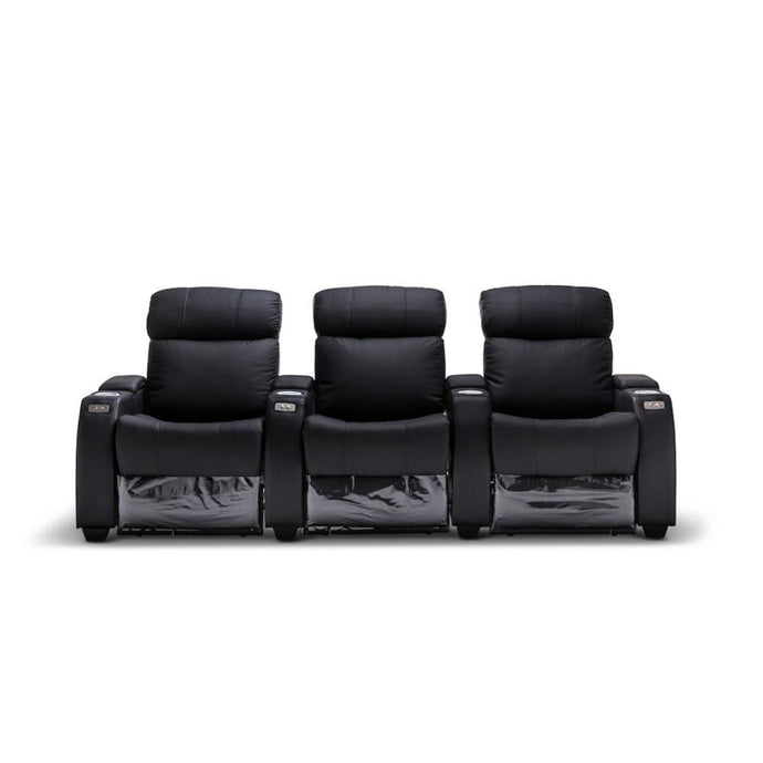 Anna Black Leather 3 Seater Recliner - Electric
