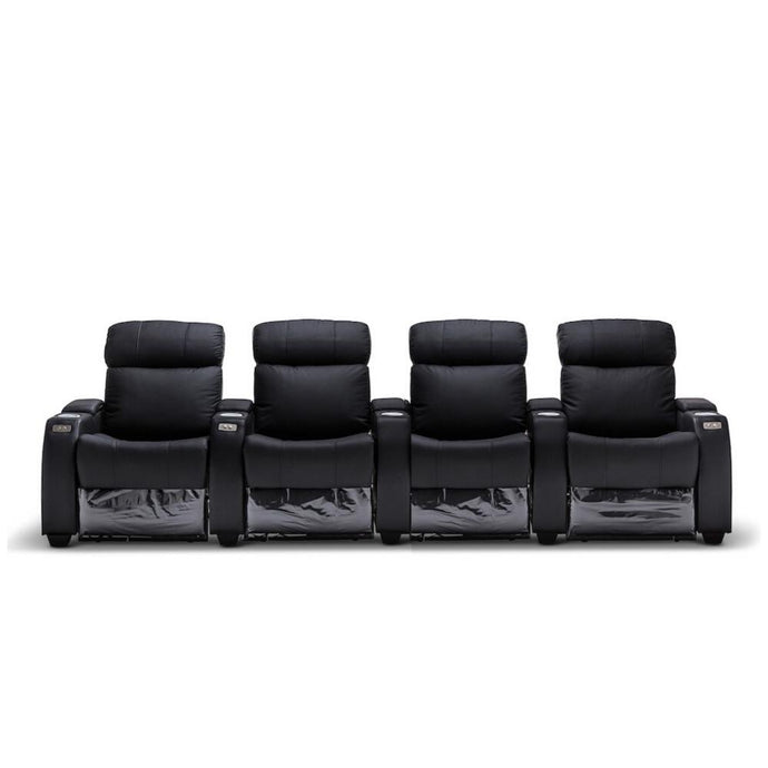 Anna Black Leather 4 Seater Recliner - Electric