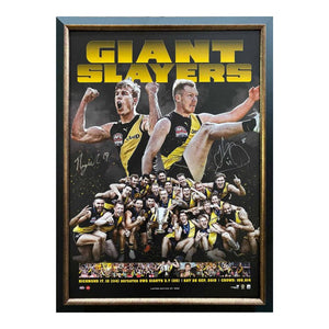 "Richmond Tigers ""Giant Slayers"" 2019 Premiership Tribute Personally Signed By Jack Riewoldt And Tom Lynch, Framed"